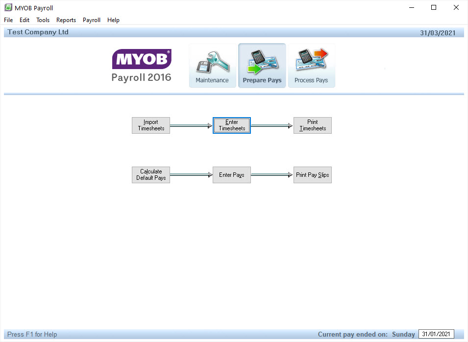 MYOB screenshot