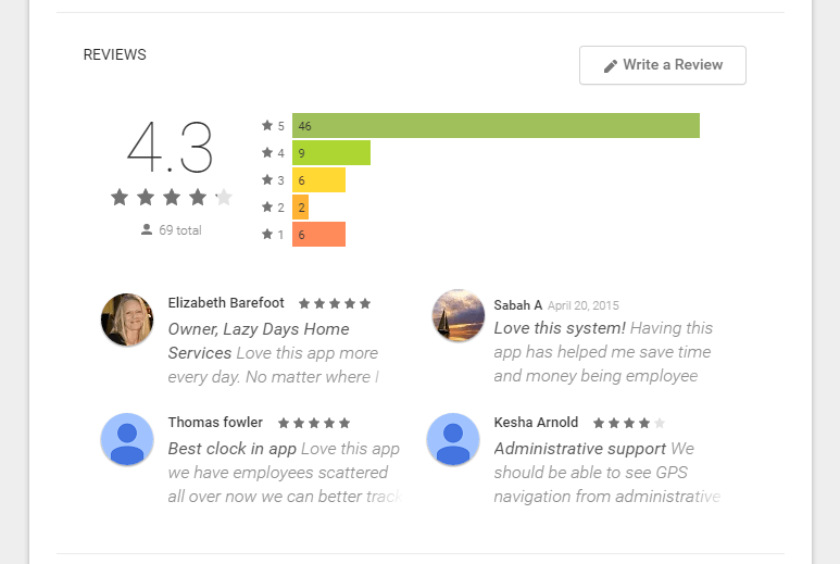 Google play reviews of TimeDock app
