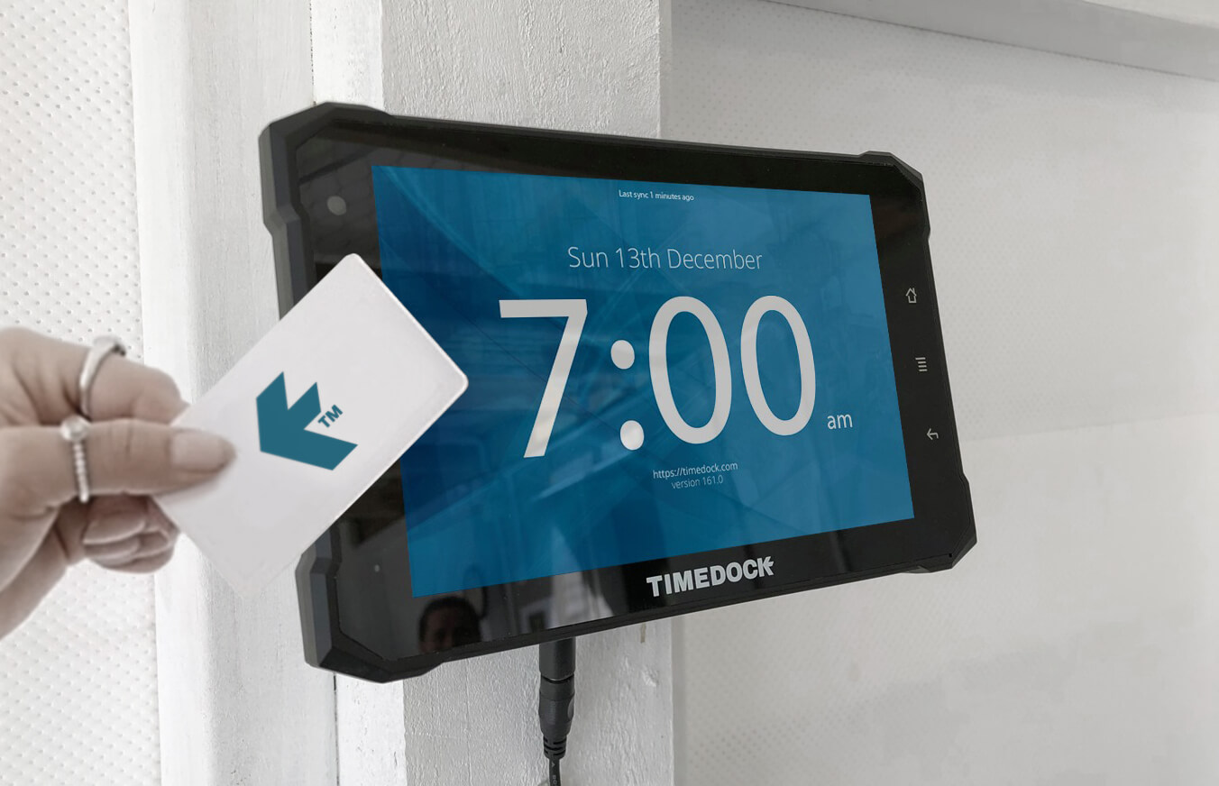 TimeDock's wall-mounted NFC time clock